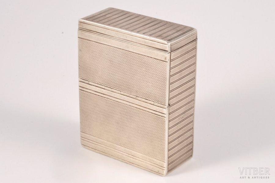 cigarette case, silver, 835 standart, the 40-50ies of 20 cent., 112.80 g, Belgium, 7.6 x 5.9 x 2.1 cm