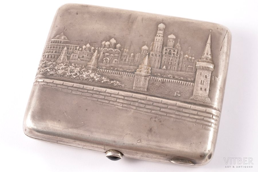 """cigarette case, silver, 875 standart, """"Moscow"""" (written on the back of the case: """"To a beloved son Kiva on a 28th birthday from father and mother / 19.14/IX.47""""), silver stamping, the 40ies of 20th cent., 166.90 g, Jewellry-artistic artel, Moscow, USSR, 10.4 x 9 x 1.5 cm"""