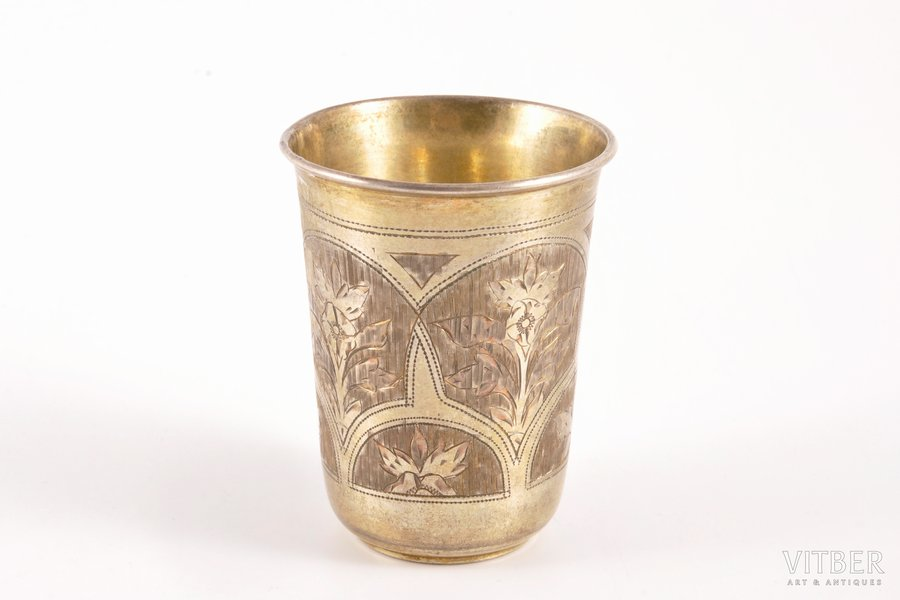 beaker, silver, 84 standart, engraving, 1886, 53.20 g, Moscow, Russia, 6.6 cm