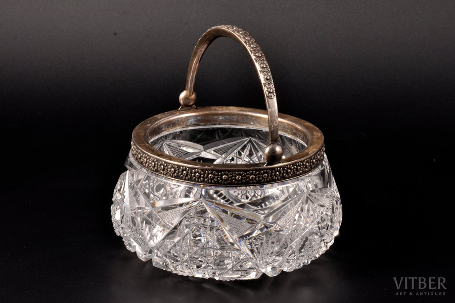 sugar-bowl, silver, 875 standart, crystal, the 20ties of 20th cent., Latvia, Ø = 12.7 cm, h (without handle) = 6.6 cm