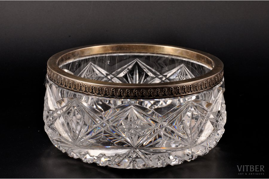 fruit dish, silver, 875 standart, crystal, the 20ties of 20th cent., Latvia, Ø = 15.8 cm, h = 7.3 cm