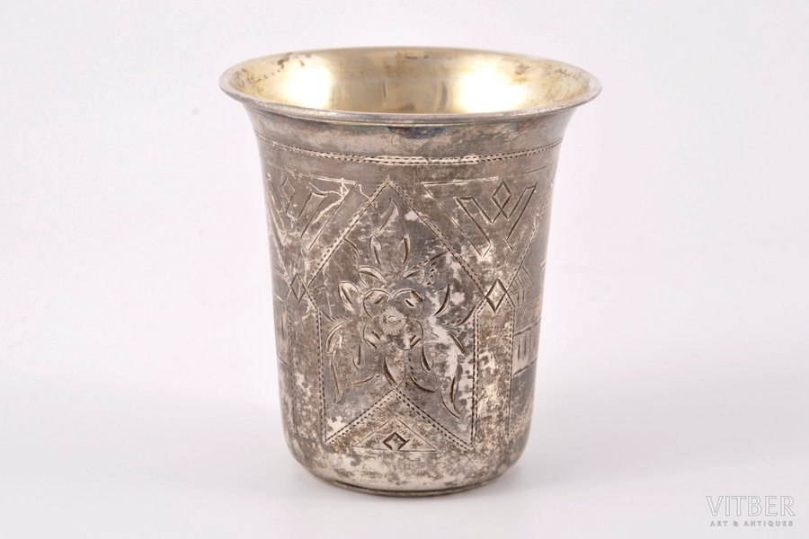 goblet, silver, 84 standart, engraving, 1890, 64.50 g, Moscow, Russia, h = 7.5 cm, Ø = 7 cm