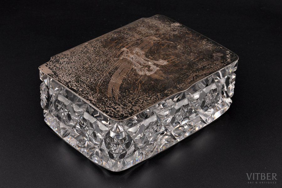 case, silver, 875 standart, crystal, the 20-30ties of 20th cent., 135.90 g, (silver lid)g, Latvia, 14.4 x 10.7 x 5.7 cm
