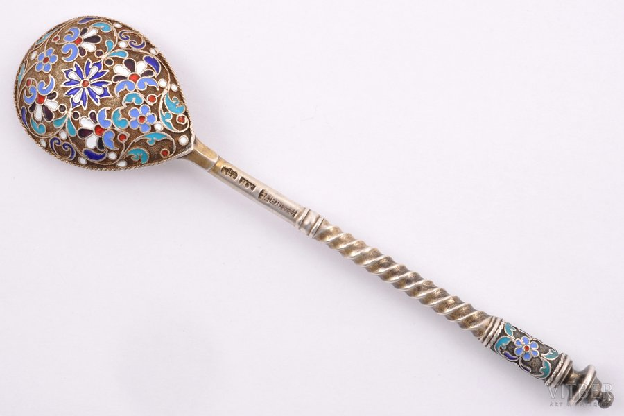 spoon, silver, 88 standart, cloisonne enamel, the 2nd half of the 19th cent., 38.90 g, Moscow, Russia, 13.7 cm