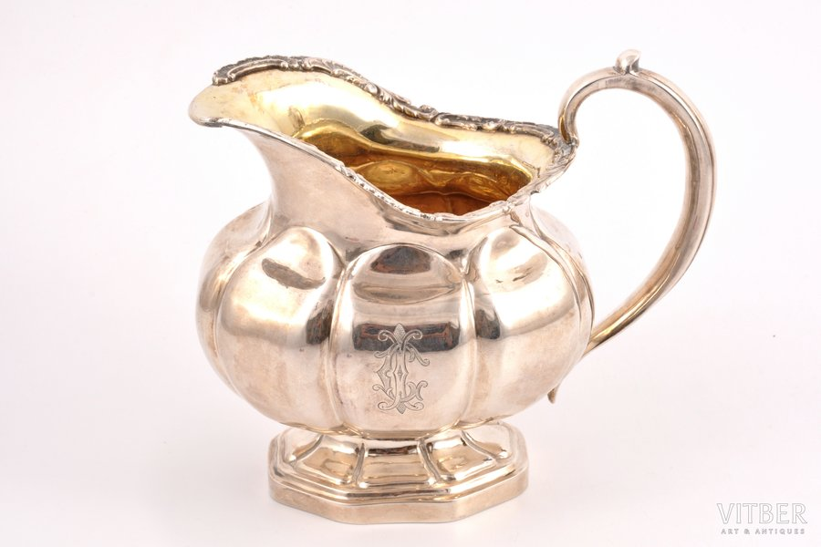 cream jug, silver, 84 standart, gilding, 1838, 241.35 g, by Adolf Shper, St. Petersburg, Russia, 11.9 cm