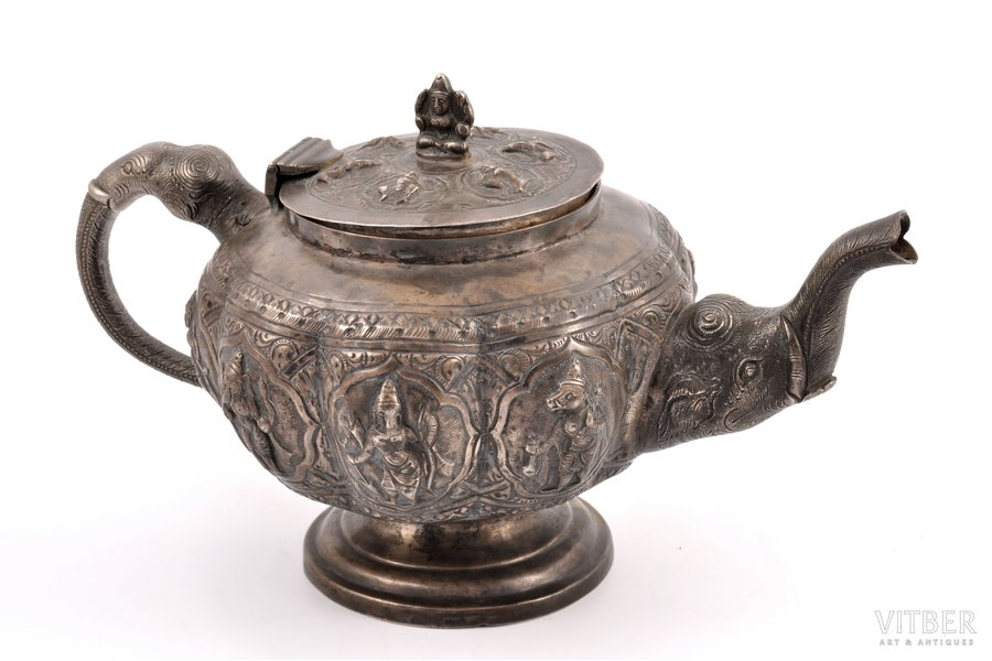 small teapot, silver, silver stamping, the 19th cent., 430.50 g, India, h 13.5 cm