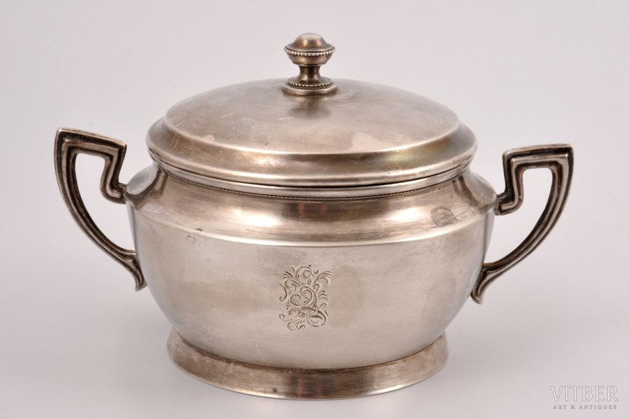 sugar-bowl, silver, 875 standart, the 20ties of 20th cent., 283.40 g, Latvia, h 9.5 cm