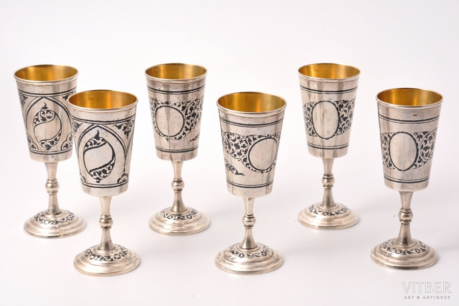 set of 6 little glasses, silver, 875 standart, gilding, niello enamel, 1969, 367.75 g, the artistic plant of Kubachinsk, USSR, 10.2 cm