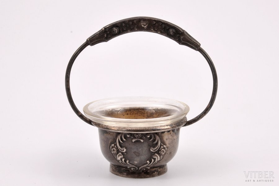 saltcellar, silver, 875 standart, the 30ties of 20th cent., (silver) 19.15 g, Latvia, Ø 4 cm