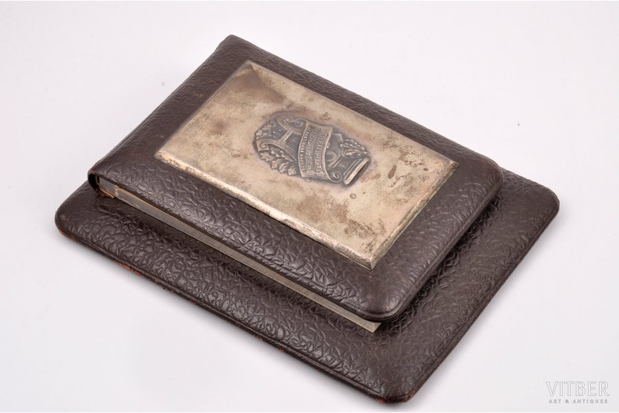 """writing-case, silver, 875 standart, """"Song for a free Latvia"""", the 30ties of 20th cent., Latvia, 18.5 x 14.1 x 3.5 cm"""