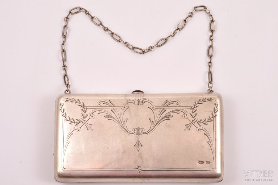 purse, silver, 84 standart, engraving, 1908-1914, 193.60 g, (total weight)g, Moscow, Russia, 12.4 x 6.9 x 2.1 cm