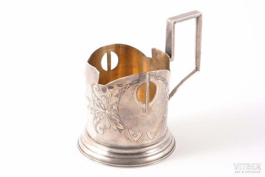 tea glass-holder, silver, 84 standart, gilding, engraving, 1908-1916, 94.20 g, Vasiliy Ivanov factory, Moscow, Russia, Ø (inner) 6.3 cm
