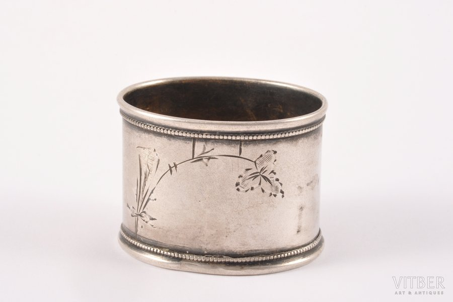 serviette holder, silver, 875 standart, engraving, the 30ties of 20th cent., 14.45 g, Riga, Latvia, 4 x 3 x 3 cm