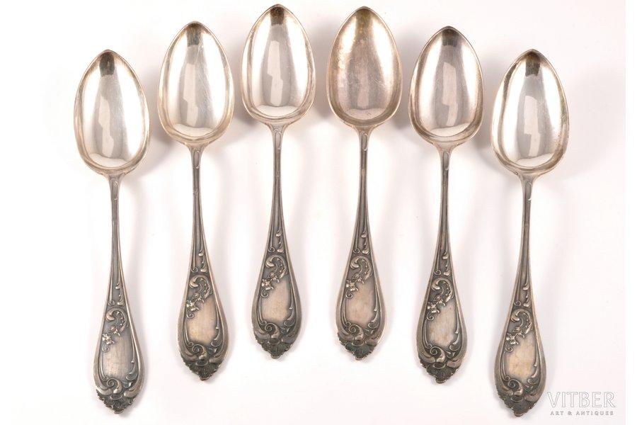 комплект из 6 суповых ложек, серебро, 6, 875 проба, 20-е годы 20го века, (общий) 414.55 г, Латвия, 22.1 см