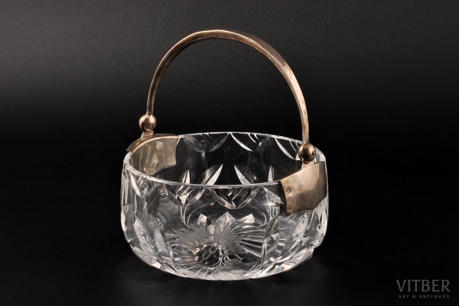 конфетница, серебро, стекло, 875 проба, 30-е годы 20го века, Латвия, Ø 11.5 см, h (без ручки) 5.8 см