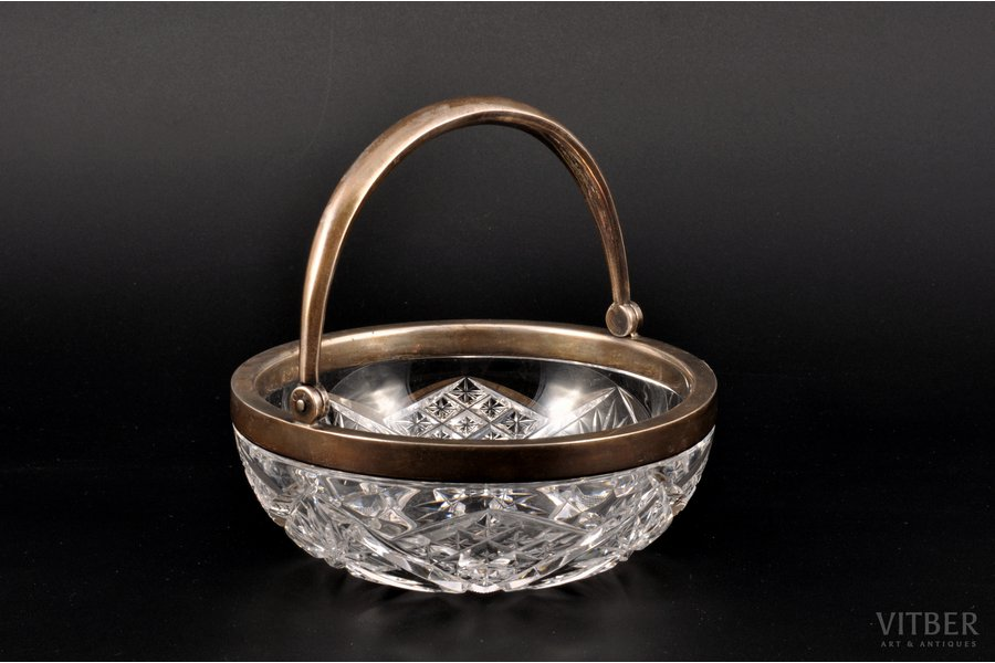 sugar-bowl, silver, crystal, 84 standart, 1908-1916, St. Petersburg, Russia, Ø 12.5 см, h (without handle) 4.7 cm