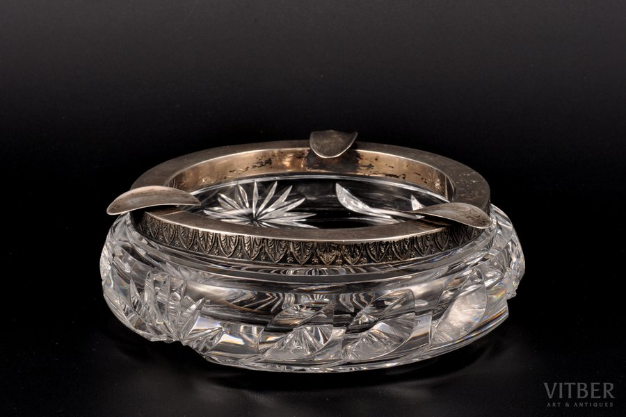 ashtray, silver, crystal, 875 standart, the 20-30ties of 20th cent., Latvia, Ø 15 cm, h 4.5 cm