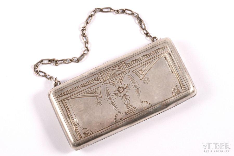 кошелёк, серебро, 84 проба, штихельная резьба, 1908-1916 г., 122.25 г, Москва, Российская империя, 10.7 x 5.3 x 0.9 см