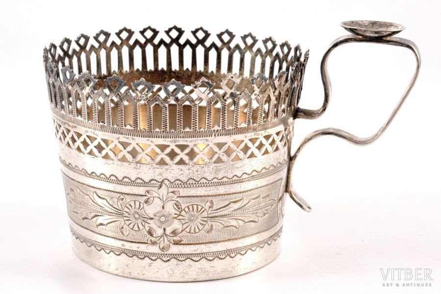 tea glass-holder, silver, 84 standart, engraving, 1872, 101.90 g, Moscow, Russia, Ø 6.3 cm, h (with handle) 7 cm