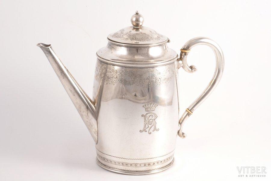 """kafijas kanna, sudrabs, 826 prove, māksliniecisks gravējums, 1908 g., 537.65 g, """"Arendt Dragsted"""", Kopenhāgena, Dānija, 18 cm"""