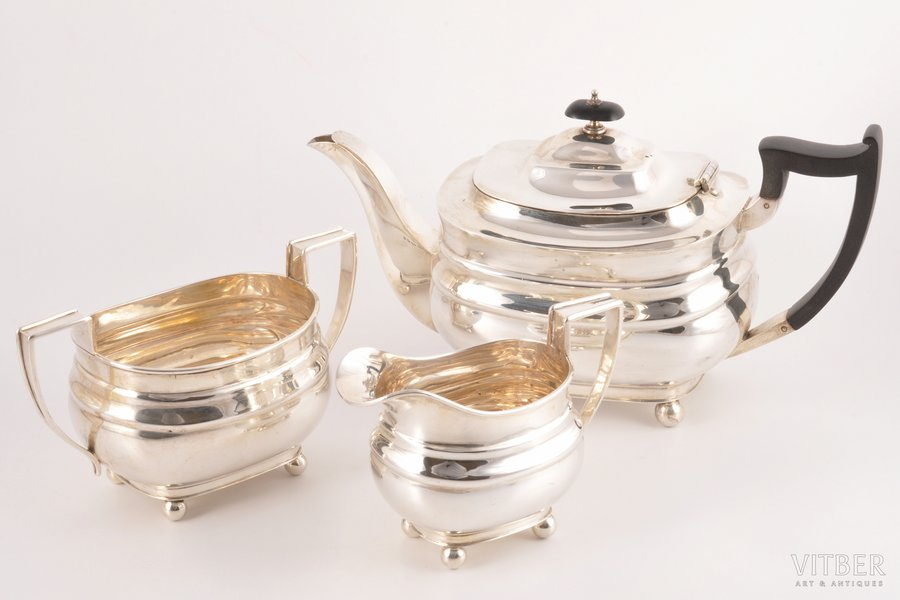 sugar-bowl, small teapot, cream jug, service, silver, 925 standart, the 30ties of 20th cent., (total) 1158.70 g, (small teapot) 719.60 g, h 15 cm / (sugar-bowl) 257.50 g, h 10 cm / (cream jug) 181.60 g, h 9.5 cm, James Dixon & Sons, Sheffield, Great Britain