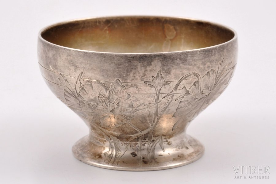 saltcellar, silver, 84 standart, engraving, 1908-1916, 45.00 g, workshop of Vasily Andreev, Moscow, Russia, Ø 5.6 cm