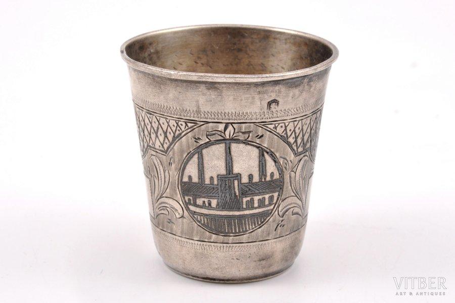 beaker, silver, 84 standart, engraving, niello enamel, 1877, 27.20 g, Russia, 4.5 cm
