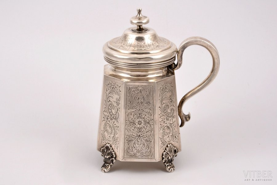 mug, silver, 84 standart, engraving, 1864, 349.85 g, Moscow, Russia, h (with a lid) 17 cm