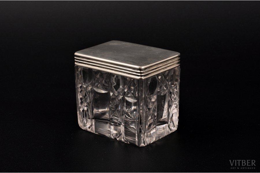 case, silver, 84 standart, crystal, 1837, 11.80 g, (lid)g, St. Petersburg, Russia, 5.1 x 3.7 x 4.7 cm