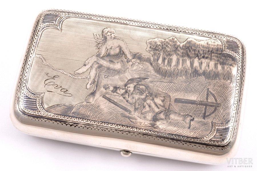 cigarette case, silver, 84 standart, engraving, niello enamel, 1883, 146.80 g, Moscow, Russia, 10.5 x 6.5 x 2 cm
