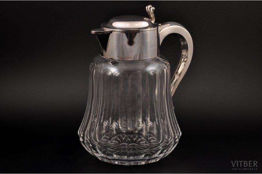 """jug, silver, 835 standart, glass, the beginning of the 20th cent., """"Wilhelm Binder"""", Schwäbisch Gmünd, Germany, h 25 cm"""