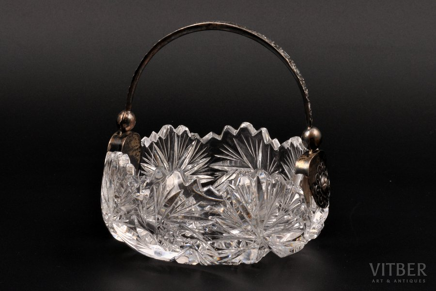 sugar-bowl, silver, crystal, 875 standart, the 20ties of 20th cent., Latvia, Ø 9.8 см, h (with handle) 10.5 см cm
