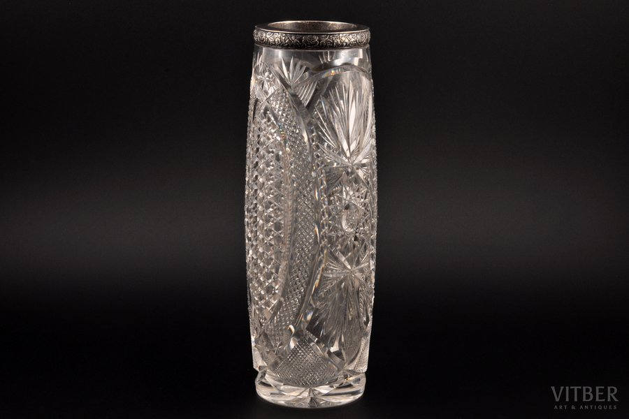 a vase, silver, 875 standart, crystal, the 30ties of 20th cent., Latvia, h 29 cm