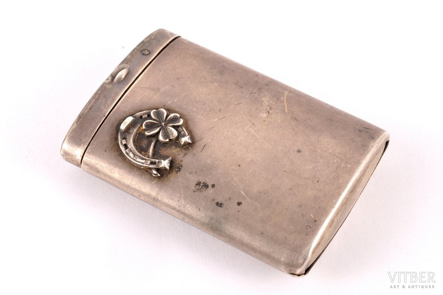 спичечница, серебро, 875 проба, 20-е годы 20го века, (вес изделия) 41.65 г, Латвия, 6 x 4.2 x 1.2 см