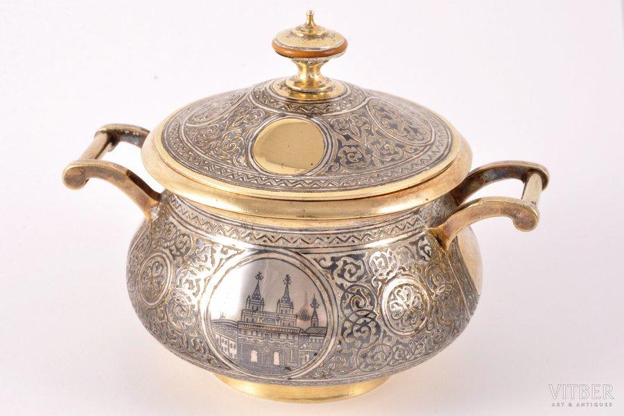 sugar-bowl, silver, 84 standart, gilding, niello enamel, the end of the 19th century, 253.25 g, by Alexander Lyubavin, St. Petersburg, Russia, Ø 8 cm, h (with a lid) 8.5 cm