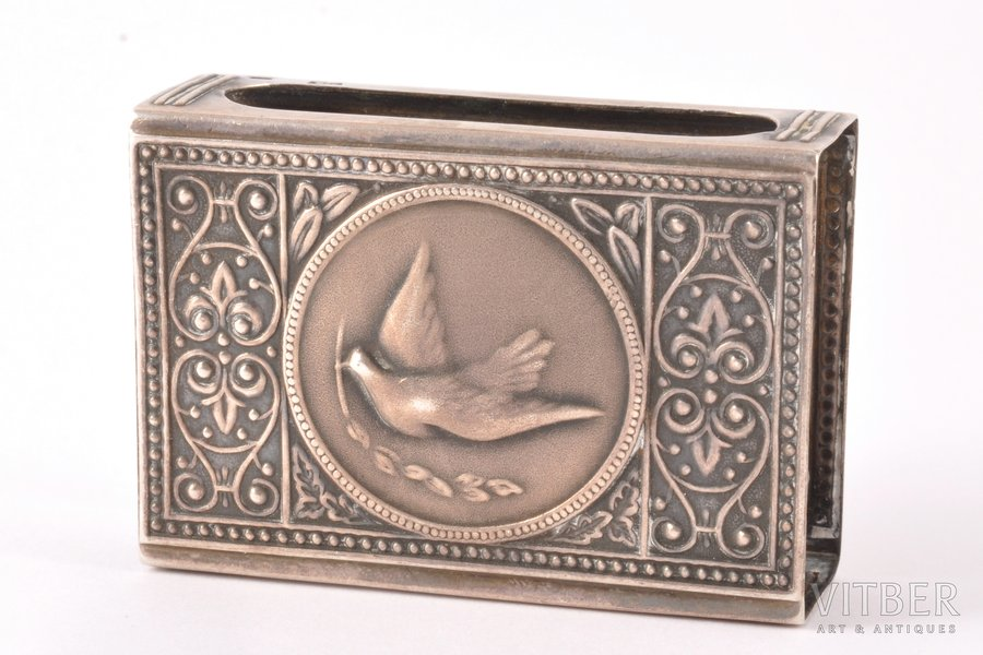 matches' holder, silver, 875 standart, silver stamping, 1955, 25.40 g, Kostroma (?), USSR, 5.6 x 3.9 x 1.9 cm