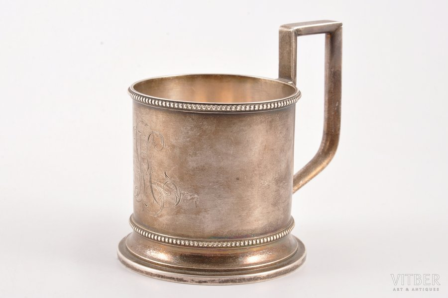 tea glass-holder, silver, 84 standart, the end of the 19th century, 171.95 g, by Alexander Lokin, St. Petersburg, Russia, Ø (inner) 6.9 cm