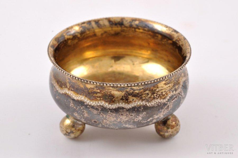saltcellar, silver, 84 standart, gilding, 1899-1905, 13.05 g, Kostroma, Russia, 3.65 x 3.65 x 2.15 cm
