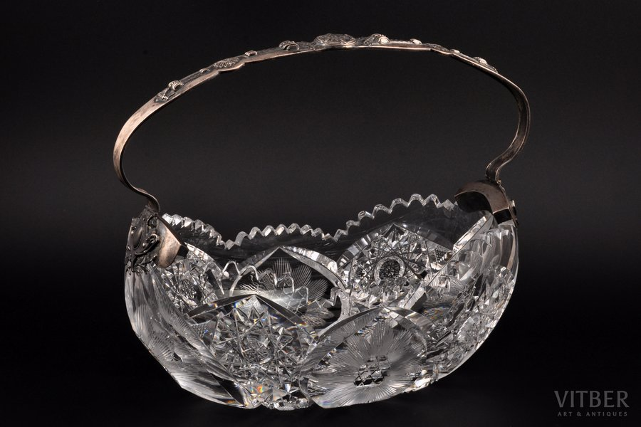 candy-bowl, silver, crystal, 875 standart, the 20ties of 20th cent., Latvia, 27.5 x 16 см, h 24.5 cm