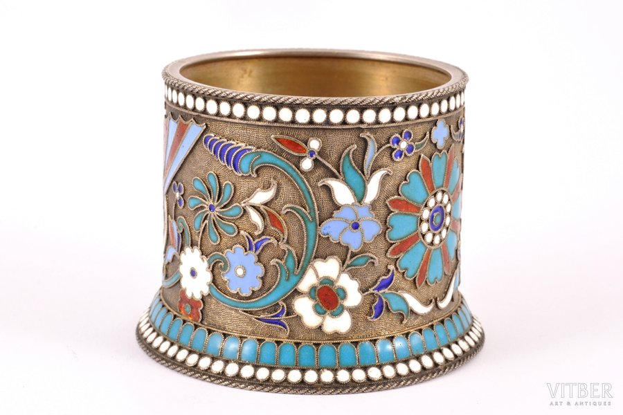 spice jar, silver, 84 standart, cloisonne enamel, 1899-1908, 85.95 g, by Vasiliy Agafonov, Moscow, Russia, h 4.8 cm, cover missing
