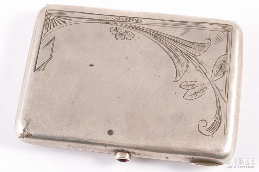 "cigarette case, silver, 875 standart, engraving: ""to Dkar. Šrēders / 1st place in rifle shooting. 1935. / Latv. Stud. Corp."", engraving, gilding, the 20ties of 20th cent., 113.90 g, Latvia, 10.2 x 7.5 x 1.5 cm"