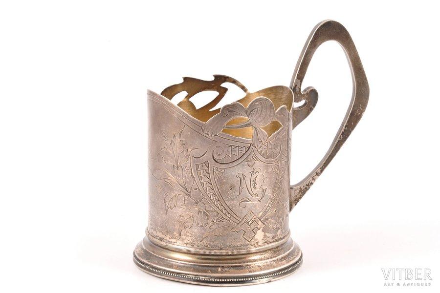 tea glass-holder, silver, 84 standart, engraving, 1908-1914, 154.85 g, by Nikolay Zverev, Moscow, Russia, Ø (inner) 5 cm