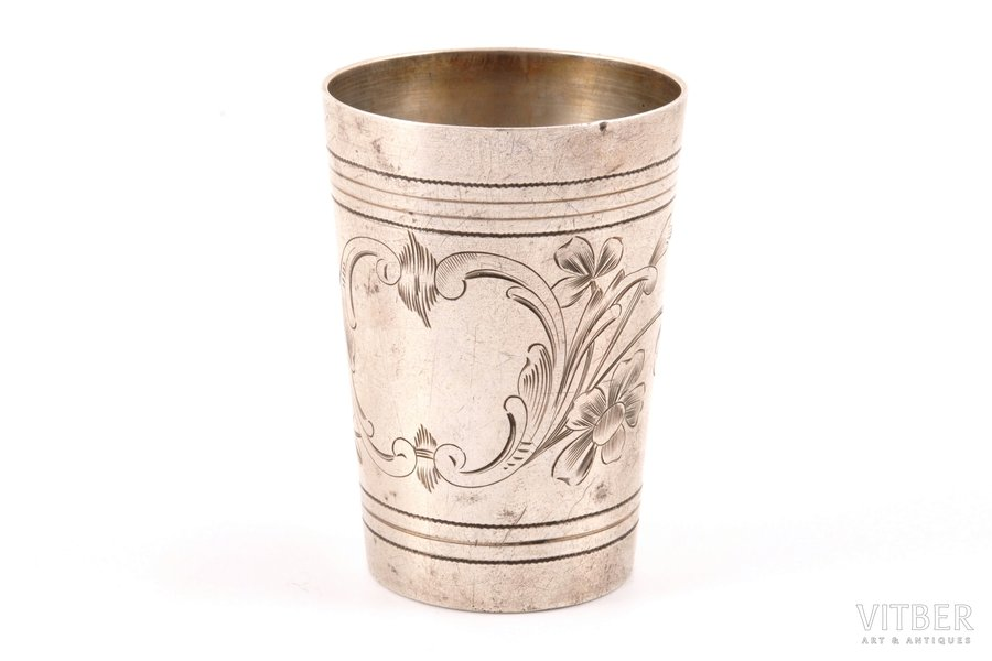 little glass, silver, 84 standart, engraving, 1908-1917, 50 g, Russia, h 6.4 cm, Ø 4.6 cm