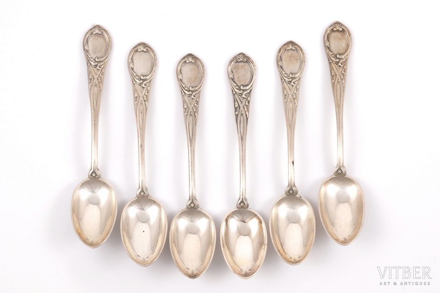 "set of 6 coffee spoons, silver, 84 standart, 1898-1908, 113.30 g, ""Grachev Brothers"", St. Petersburg, Russia, 11.7 cm"