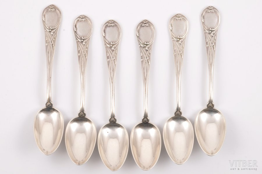 "set of 6 teaspoons, silver, 84 standart, 1898-1908, 204.20 g, ""Grachev Brothers"", St. Petersburg, Russia, 14.5 cm"