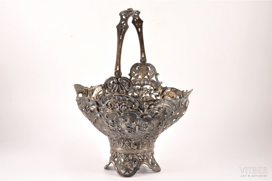 candy-bowl, silver, glass insert missing, 800 standart, silver stamping, the end of the 19th century, 822.50 g, Weinranck & Schmidt, Hanau, Germany, h (without handle) 20.5 cm