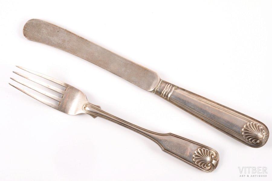 fork, knife, silver, 84 standart, 1818-1864, 111.40 g, Arndt Johann Helvig, St. Petersburg, Russia, 16.8 + 20.5 cm