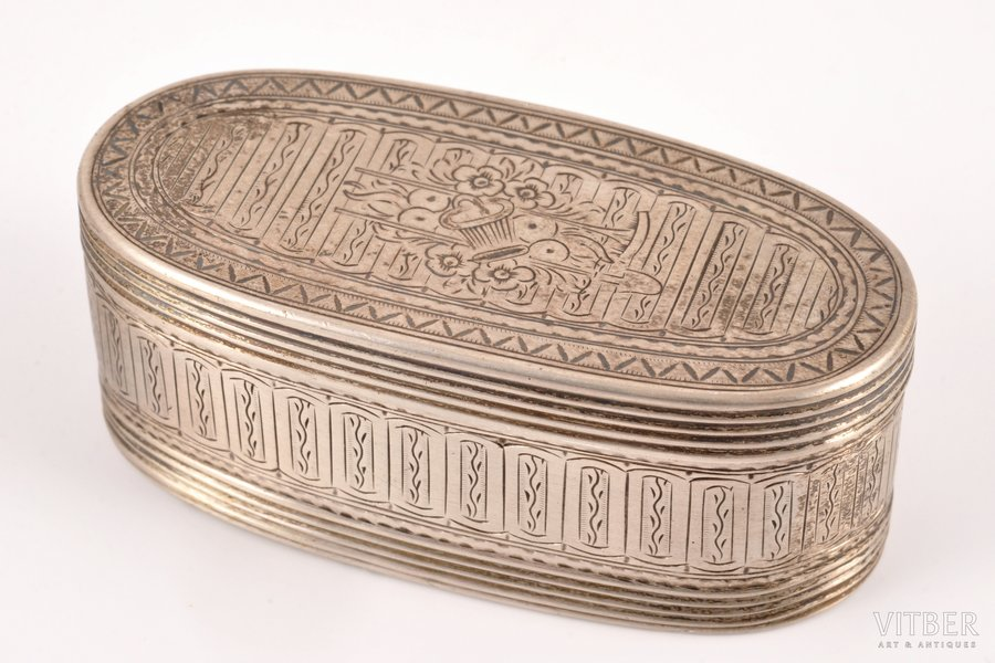 case, silver, 875 standart, engraving, gilding, the 1st half of the 18th cent., 90.85 g, Amsterdam, Netherlands, 8.4 x 3.9 x 3.2 cm