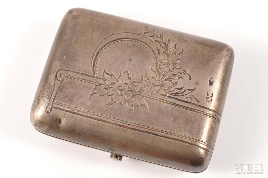 кошелёк, серебро, 84 проба, штихельная резьба, 1899-1908 г., (вес изделия) 58.80 г, Москва, Российская империя, 6.7 x 5.2 x 2 см