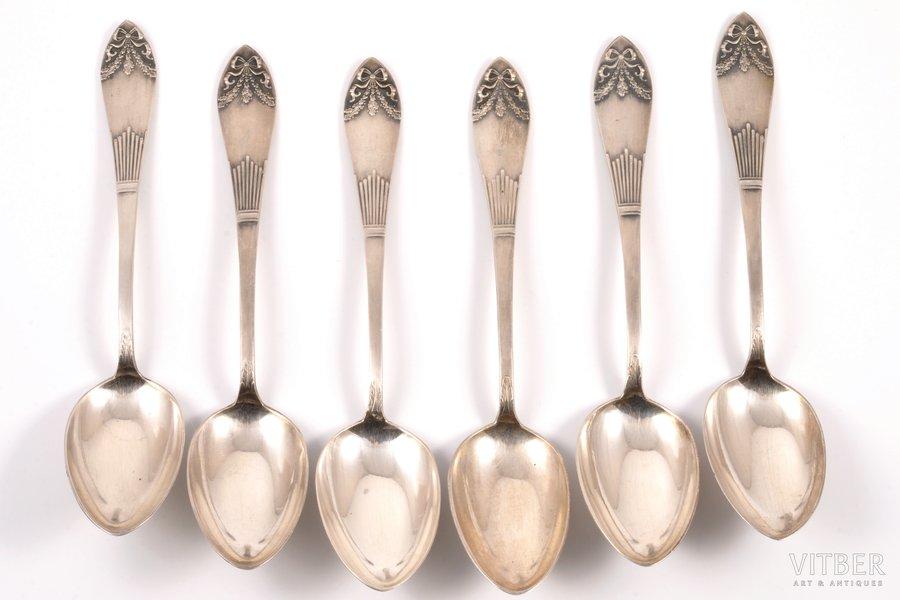 комплект из 6 десертных ложек, серебро, 875 проба, 30-е годы 20го века, 210.40 г, Латвия, 18 см